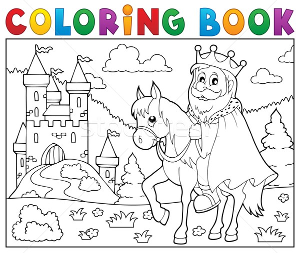 Coloring book king on horse theme 2 Stock photo © clairev