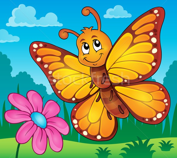 Feliz borboleta tópico imagem flor primavera Foto stock © clairev