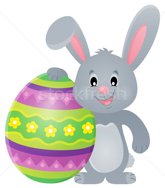 Stylized bunny with Easter egg theme 1 Stock photo © clairev