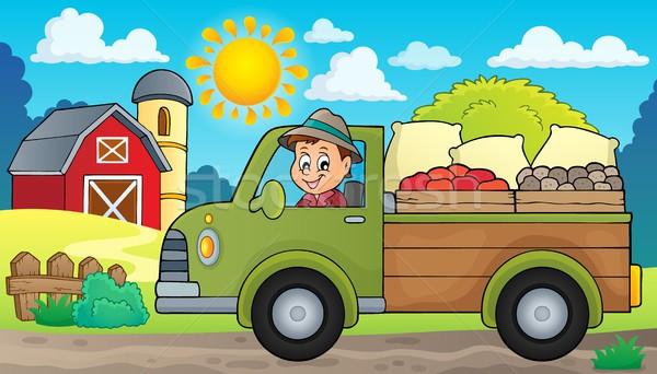 Stockfoto: Boerderij · vrachtwagen · afbeelding · gebouw · man · persoon
