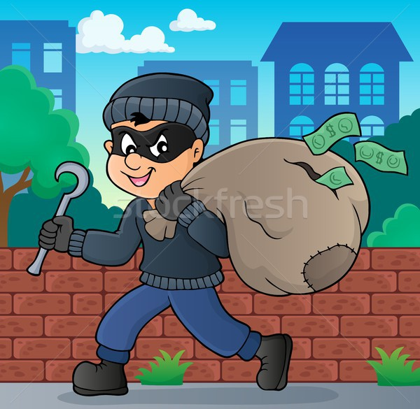 Thief with bag of money theme 2 Stock photo © clairev