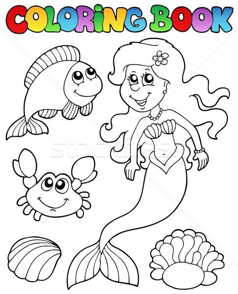 Coloring Book With Mermaid Vector Illustration C Klara Viskova