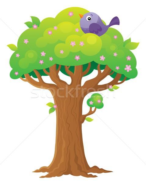 árvore tópico imagem pássaro planta estilo Foto stock © clairev