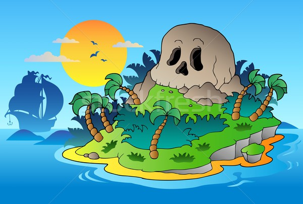 Pirate skull island with ship Stock photo © clairev