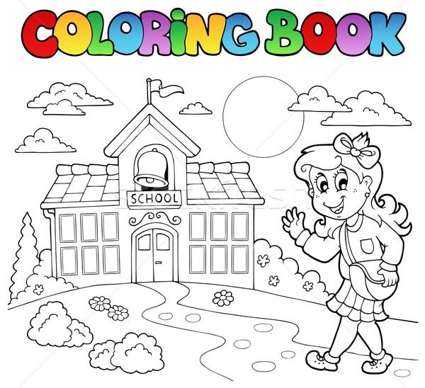 Boyama Kitabi Okul Ev Kiz Gulumseme Vektor