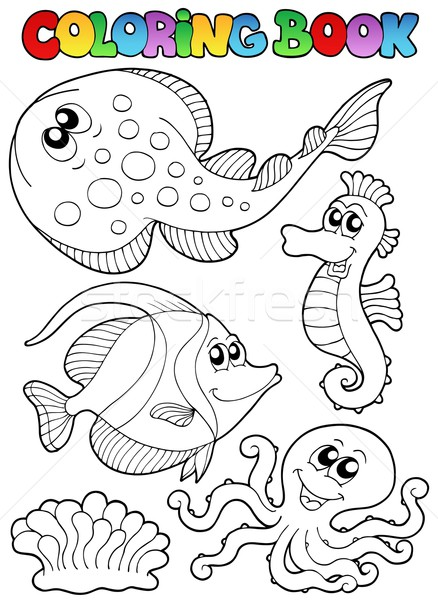 Stock Photo Vector Illustration Coloring Book With Sea Animals 3
