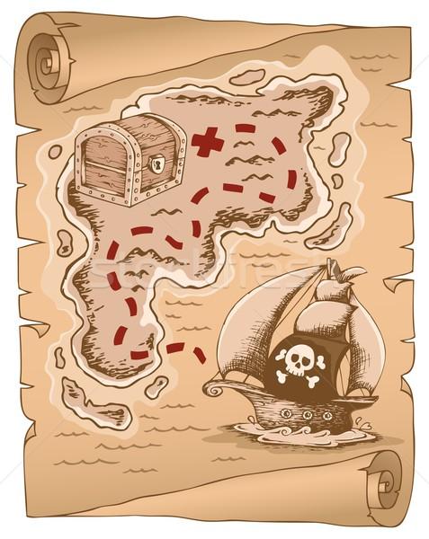Pergamena mappa del tesoro mappa arte barca nave Foto d'archivio © clairev