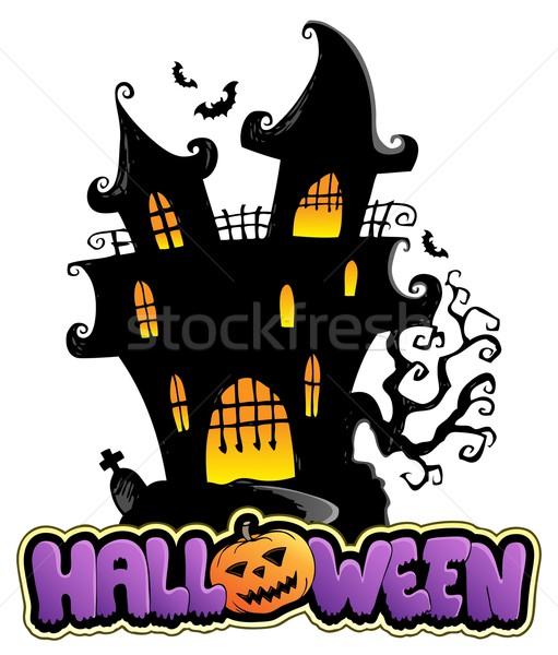 Jelenet halloween felirat terv művészet sziluett Stock fotó © clairev