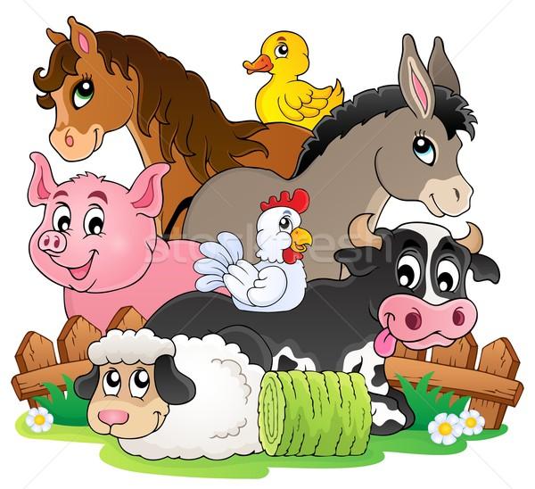 сельскохозяйственных животных тема изображение счастливым природы лошади Сток-фото © clairev