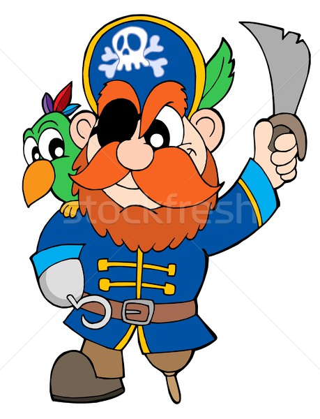 Pirate with sabre and parrot Stock photo © clairev