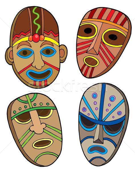 Plemiennych maski kolekcja charakter malarstwo maska Zdjęcia stock © clairev