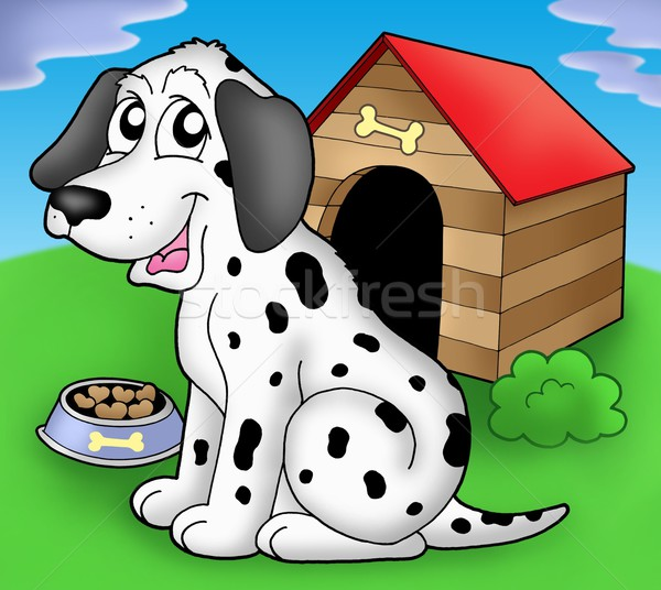 Dalmatian dog in front of kennel Stock photo © clairev