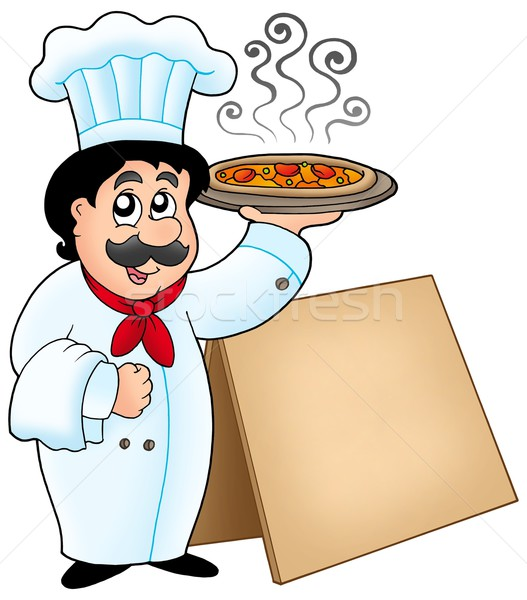 Chef holding pizza with table Stock photo © clairev