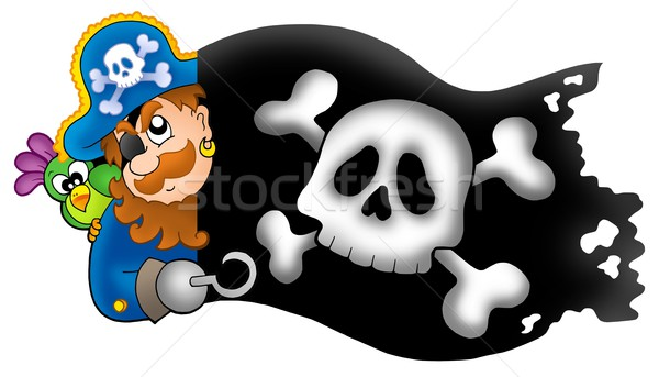 Lurking pirate with banner Stock photo © clairev