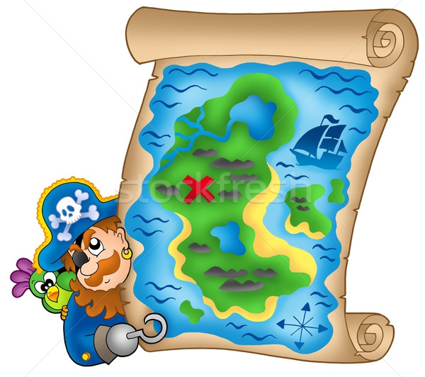 Treasure map with lurking pirate Stock photo © clairev