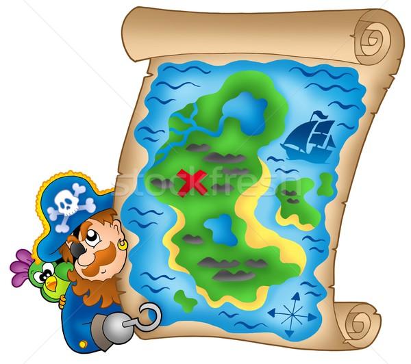 Mappa del tesoro pirata colore illustrazione acqua carta Foto d'archivio © clairev