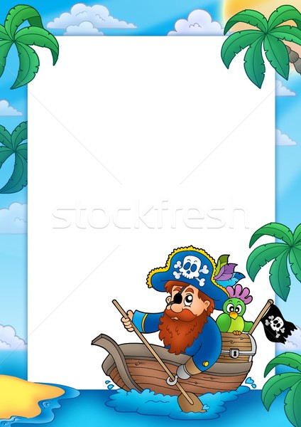 Frame with pirate paddling in boat Stock photo © clairev