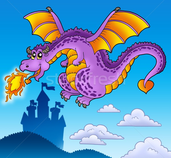 Stock photo: Huge flying dragon near castle
