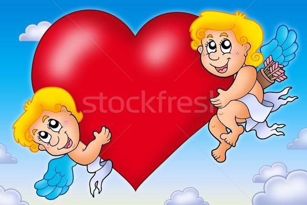 Dos corazón cielo color ilustración Foto stock © clairev