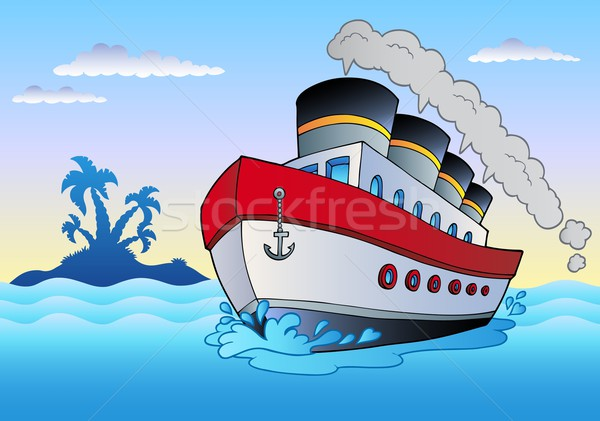 Steamship sailing in sea Stock photo © clairev
