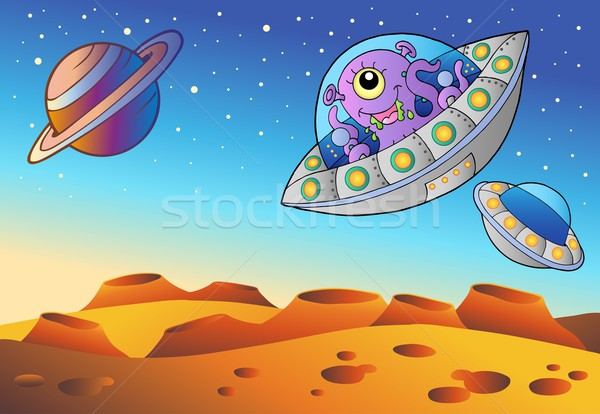 Red planet with flying saucers Stock photo © clairev