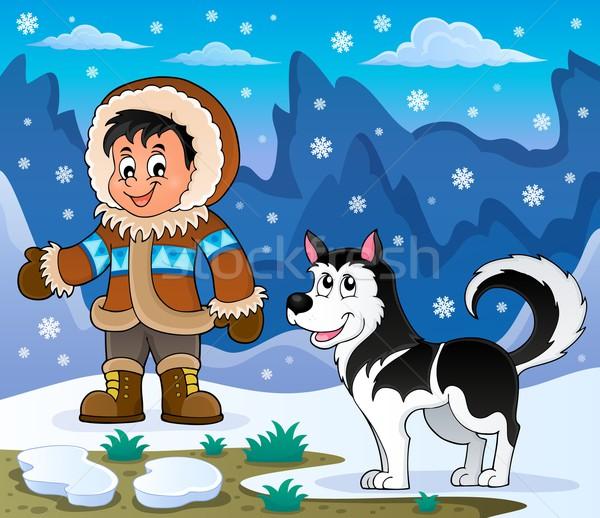 мальчика Husky собака улыбка снега искусства Сток-фото © clairev