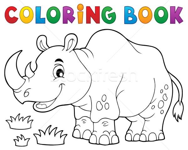 Livro para colorir rinoceronte imagem livro feliz pintar Foto stock © clairev