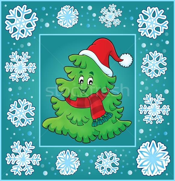 Christmas temat kartkę z życzeniami drzewo sztuki hat Zdjęcia stock © clairev