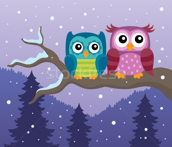 Stylized owls on branch theme image 2 Stock photo © clairev