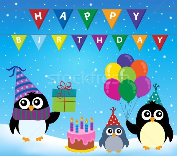 Fête pingouin image anniversaire neige gâteau Photo stock © clairev