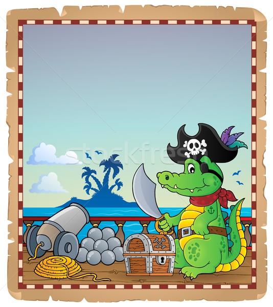 Pergamen kalóz krokodil hajó tenger művészet Stock fotó © clairev