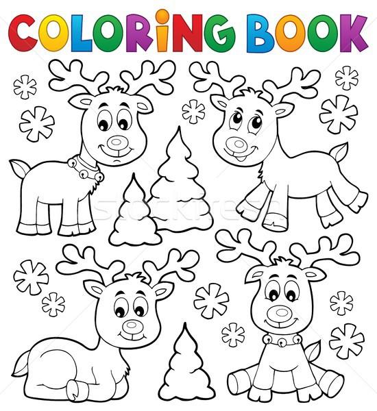Kolorowanka christmas Jeleń temat książki śniegu Zdjęcia stock © clairev
