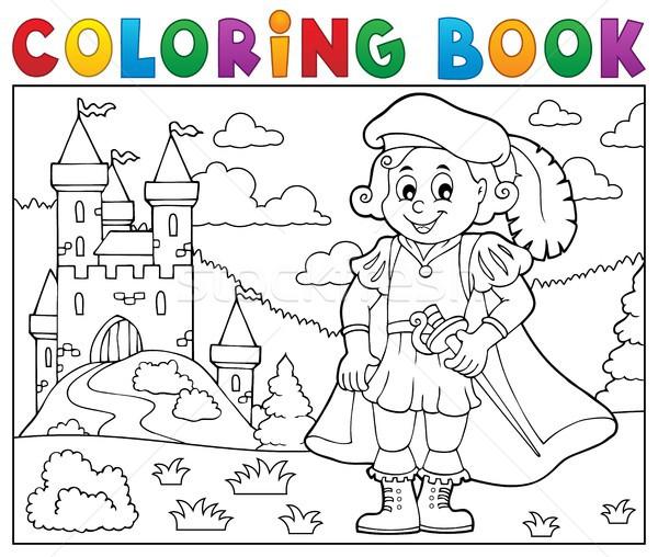 Livro para colorir príncipe castelo feliz pintar arte Foto stock © clairev