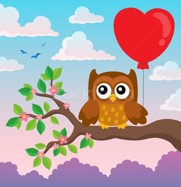 Valentine coruja tópico imagem amor folha Foto stock © clairev