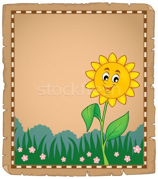 Stock fotó: Pergamen · boldog · virág · papír · természet · levél