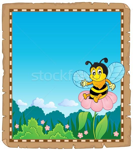Parşömen mutlu arı çiçek kâğıt doğa Stok fotoğraf © clairev