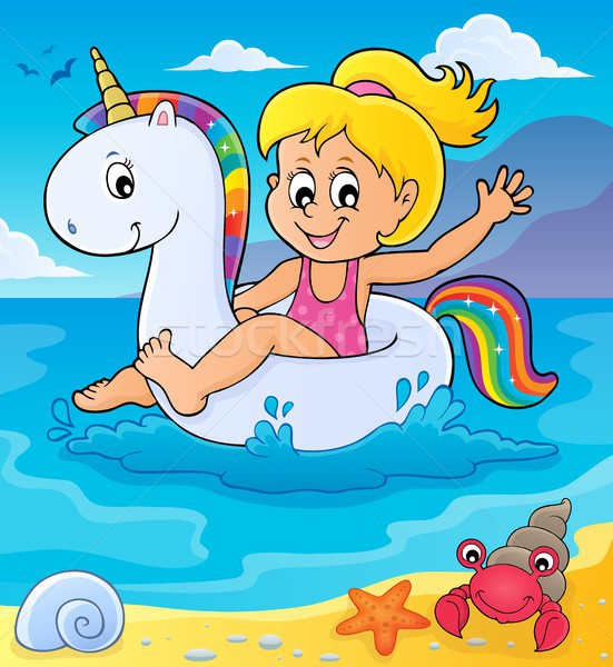 Girl floating on inflatable unicorn 2 Stock photo © clairev