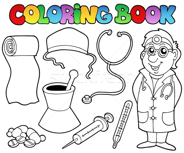 Coloring book medical collection Stock photo © clairev
