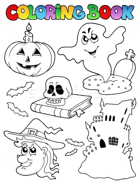 Coloring book Halloween topic 9 Stock photo © clairev