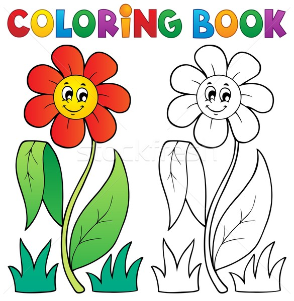 Coloring book with flower theme 3 Stock photo © clairev