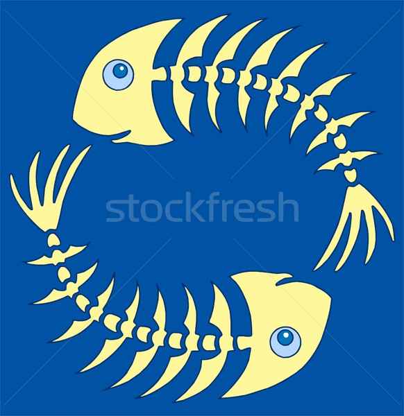 Pair of yellow fishbones on blue Stock photo © clairev