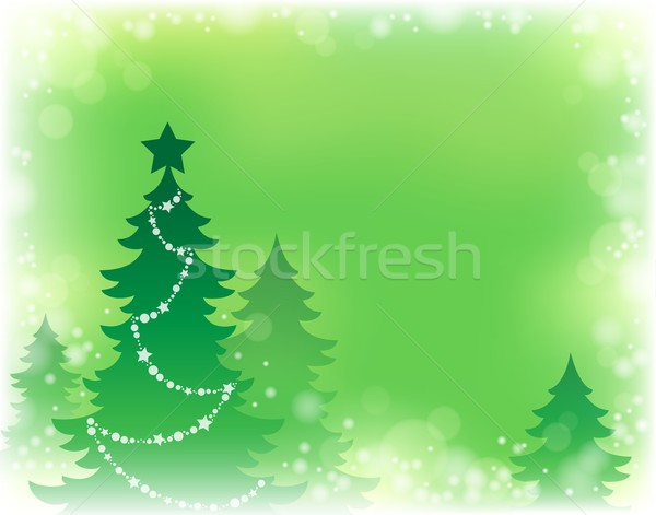Christmas tree silhouette theme 3 Stock photo © clairev
