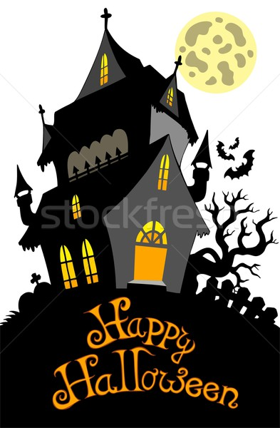 Happy Halloween sign with mansion Stock photo © clairev
