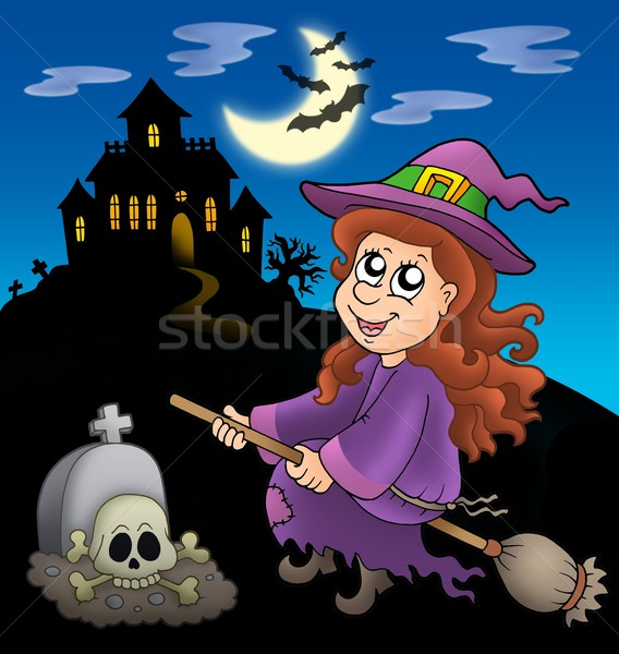 Cute witch on broom with mansion Stock photo © clairev