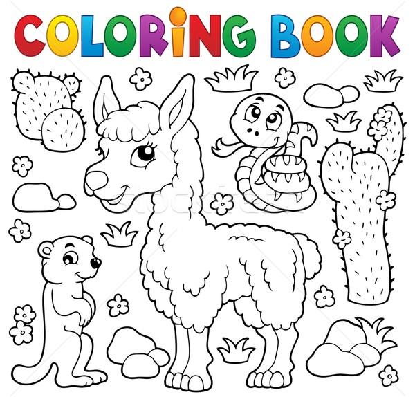Kifestőkönyv aranyos állatok könyv természet festék művészet Stock fotó © clairev