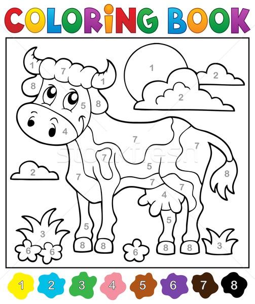 Coloring book cow theme 2 Stock photo © clairev