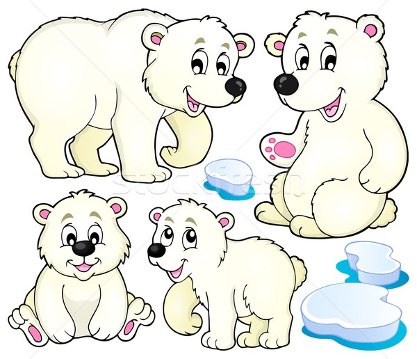 Sarki medvék gyűjtemény művészet jég tél Stock fotó © clairev
