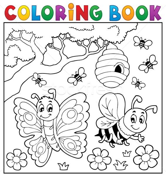 Carte De Colorat Fluture Albină Floare Carte