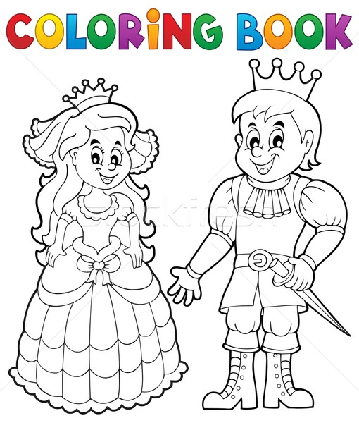 Coloring book princess and prince Stock photo © clairev