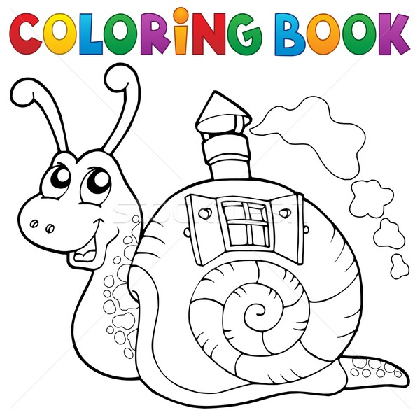 Coloring book snail with shell house Stock photo © clairev